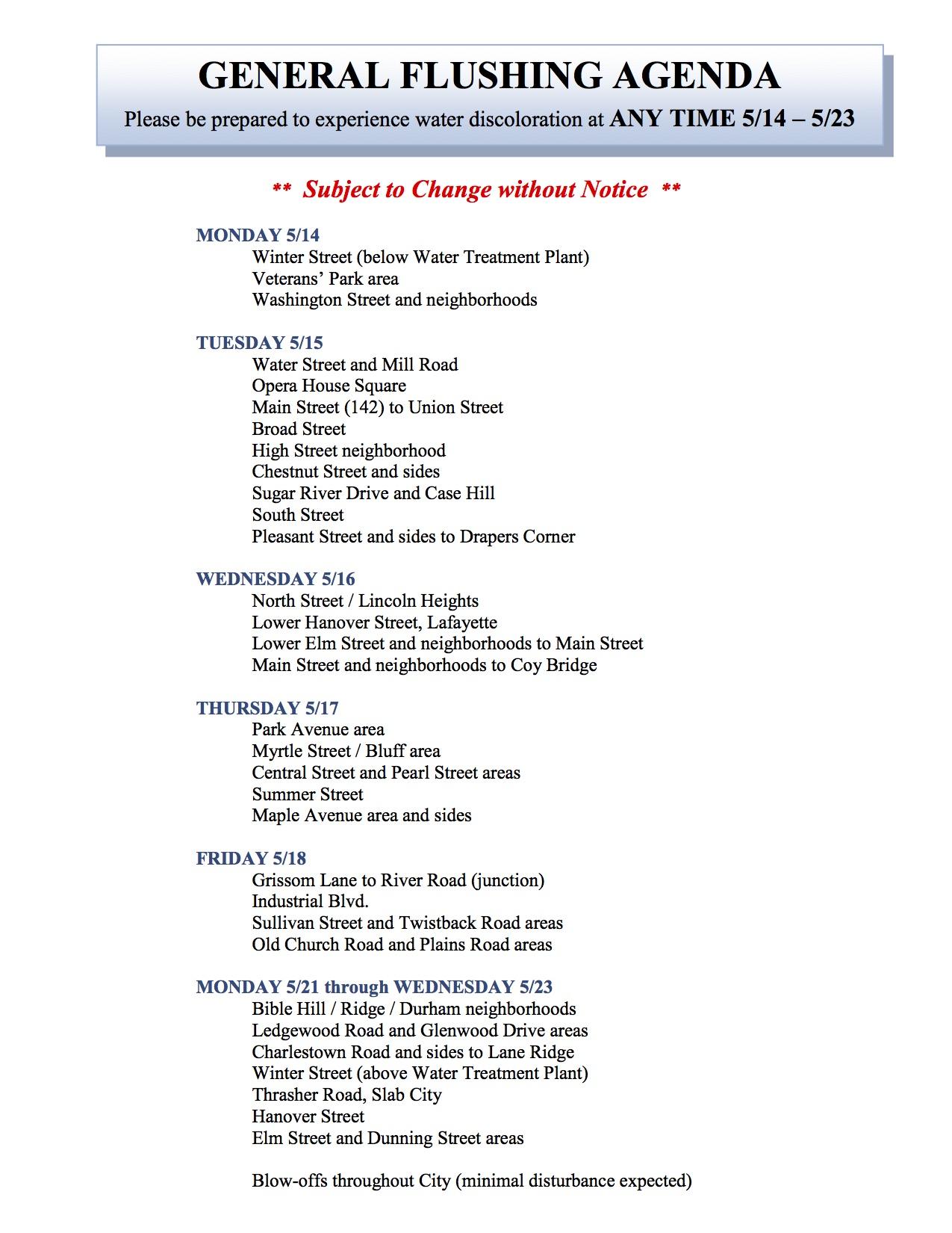 Claremont Water Main Flushing Schedule