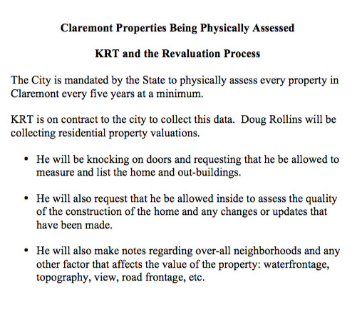 Claremont Properties Being Physically Assessed