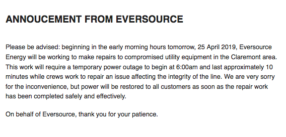 Notice from Eversource for April 25